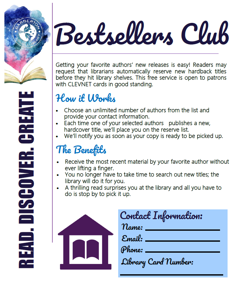 Bestseller club brochure